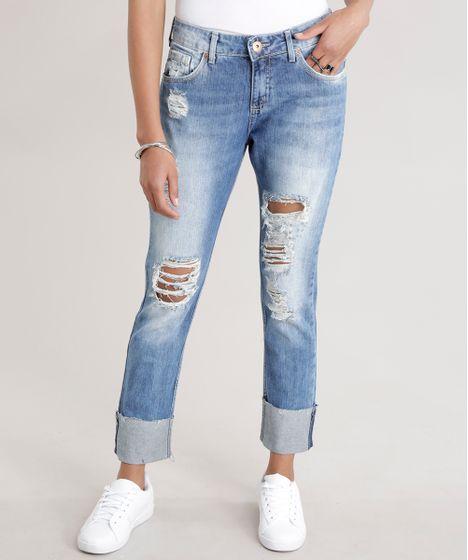 68ffbbec1 Calca-Jeans-Boyfriend-Destroyed-Azul-Medio-8707446-Azul Medio 1 ...