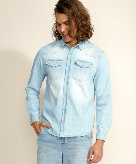 Camisa-Jeans-Masculina-Tradicional-com-Bolsos-Manga-Longa-Azul-Claro-9961818-Azul_Claro_1