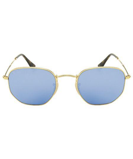 Óculos de Sol Ray-Ban RB3548NL Hexagonal - Espelhado - Dourado Azul - 001-90  51 dea736208a