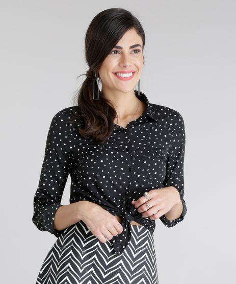 Camisa-Estampada-de-Poas-Preta-8709506-Preto_1