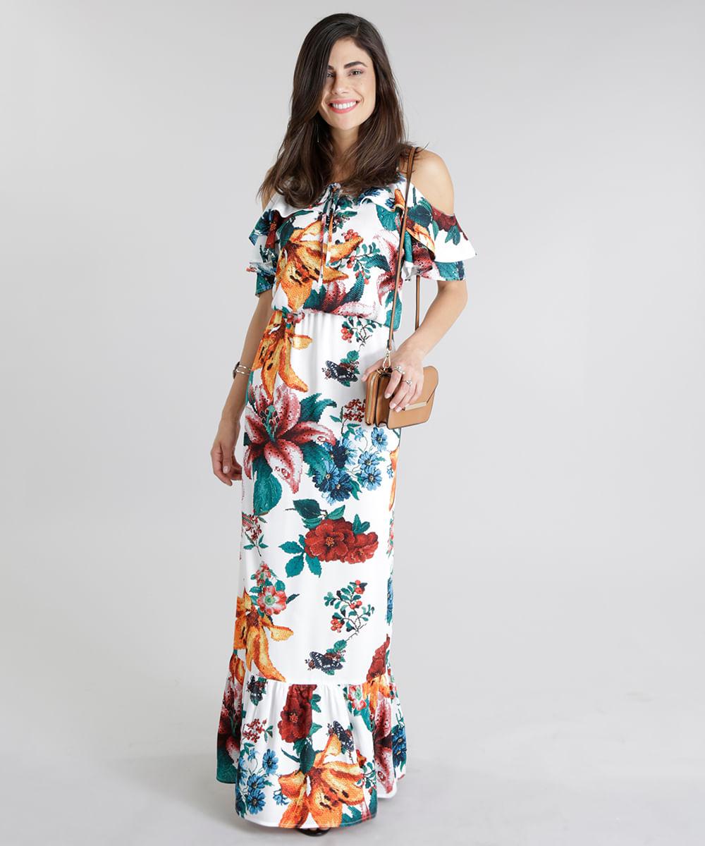 3448e54a9 Vestido Longo Open Shoulder Estampado Floral Off White - cea