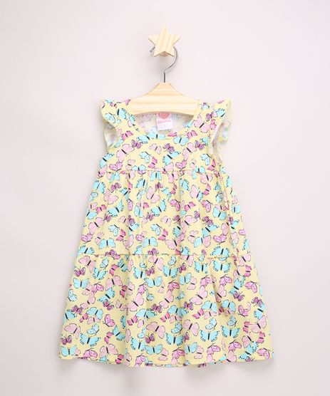 Vestido-Infantil-Amplo-Estampado-de-Borboletas-com-Recortes-Sem-Manga-Amarelo-9965632-Amarelo_1