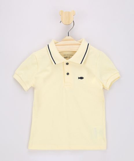 Polo-Infantil-com-Bordado-de-Peixinho-Manga-Curta-Amarela-9964255-Amarelo_1