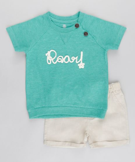 Conjunto-de-Camiseta-em-Algodao---Sustentavel-Verde-Agua---Bermuda-em-Linho-Bege-8669334-Bege_1