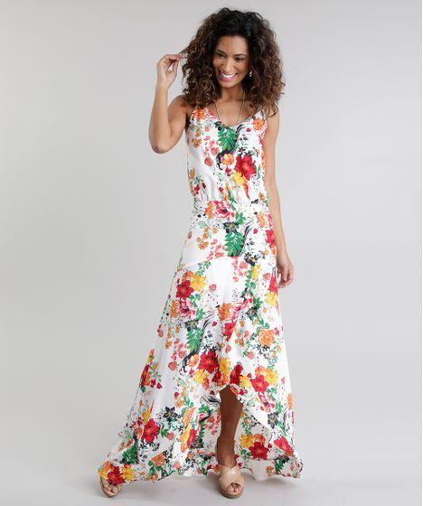 4694b0220 Vestido-Longo-Estampado-Floral-Branco-8676149-Branco 1 ...
