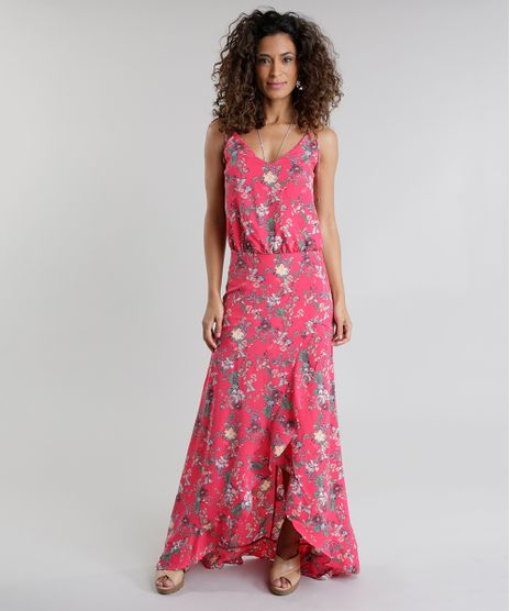 d1c8536a89 Vestido-Longo-Estampado-Floral-Rosa-Escuro-8676193-Rosa Escuro 1