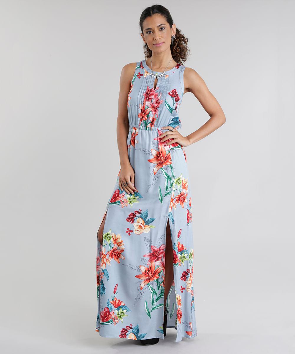2884a02d4 Vestido Longo Estampado Floral com Fendas Azul Claro - cea