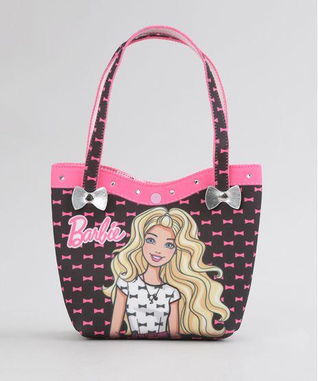 Bolsa-Estampada-Barbie-com-Brilho-com-Elastico-de-Cabelo-Preta-8770126-Preto_1