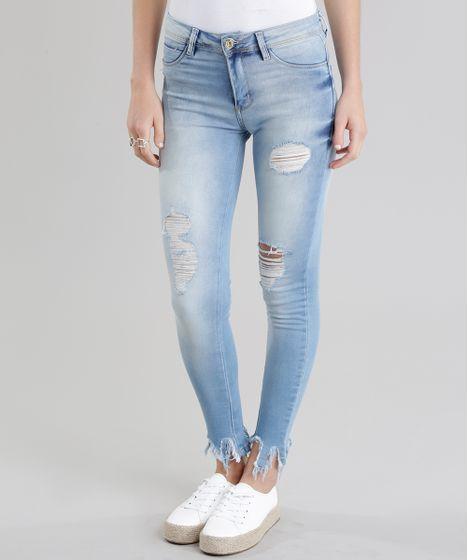 4a557143d Calça Jeans Super Skinny Sawary Destroyed Azul Claro - cea