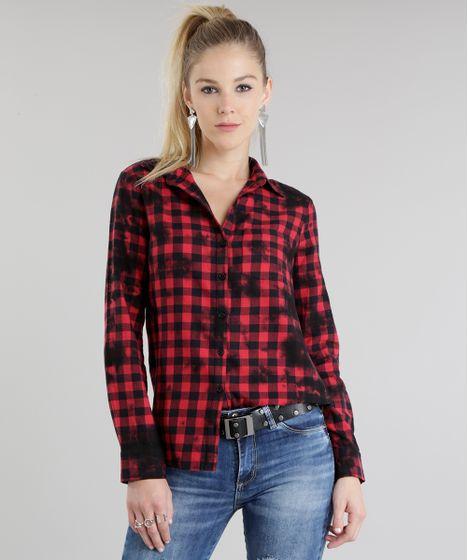 61dbb3b4c cea · Moda Feminina · Camisas. Camisa-Xadrez-Longa-Vermelha-8692636-Vermelho 1  ...