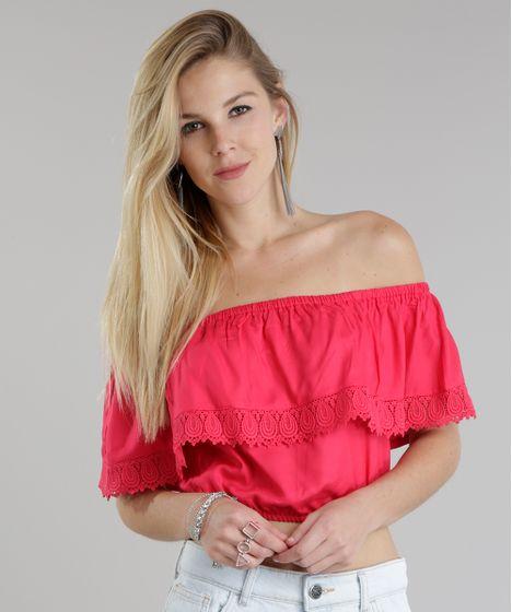 5723337f3 cea · Moda Feminina · Blusas. Blusa-Cropped-Ombro-a-Ombro-com-Renda-Pink-  ...
