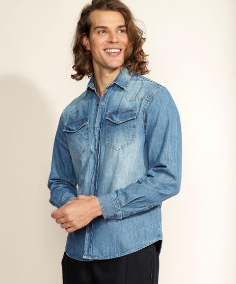 Camisa-Jeans-Masculina-Tradicional-com-Bolsos-Manga-Longa-Azul-Medio-9961816-Azul_Medio_1