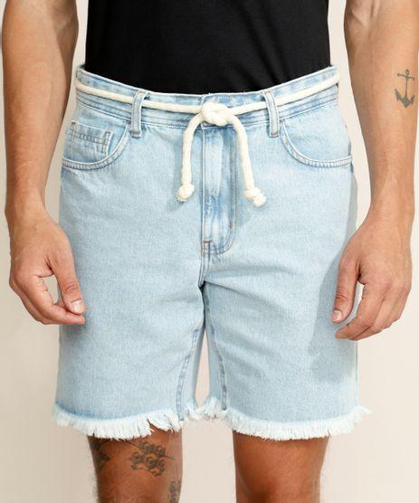 Bermuda-Jeans-Masculina-Reta-com-Barra-Desfiada-e-Cordao-Azul-Claro-9967136-Azul_Claro_1