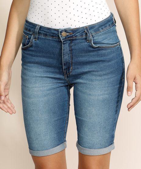 Bermuda-Jeans-Feminina-Ciclista-Cintura-Alta-com-Barra-Dobrada-Azul-Medio-9968123-Azul_Medio_1