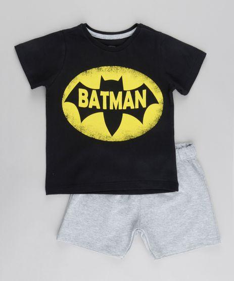 Conjunto-de-Camiseta-Batman-Preta---Bermuda-em-Moletom-Cinza-Mescla-8800181-Cinza_Mescla_1