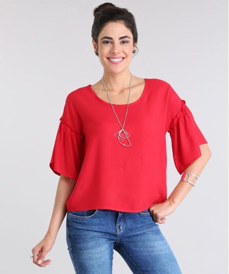 56bbe10143 Blusa-com-Babado-Vermelha-8701805-Vermelho 1 ...