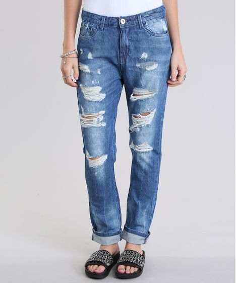 39a9db594eb09 Calça Jeans Boyfriend Destroyed em Algodão + Sustentável Azul Médio