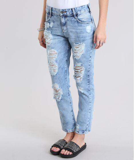 799ff889f2072 Calca-Jeans-Boyfriend-Destroyed-Azul-Claro-8797642-Azul Claro 1 ...