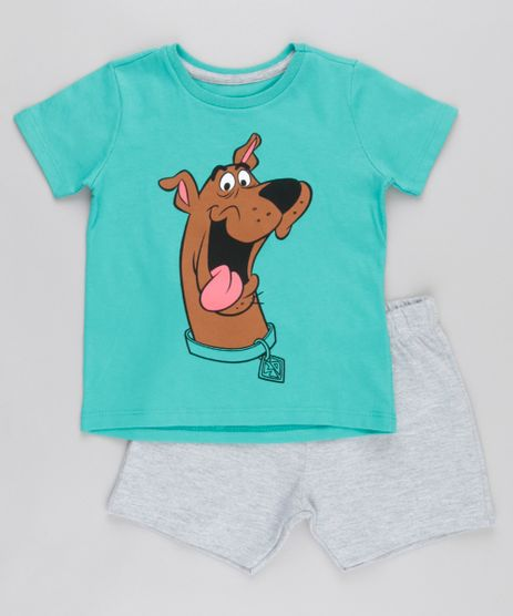 Conjunto-de-Camiseta-Verde---Bermuda-Scooby-Doo-Cinza-Mescla-8829425-Cinza_Mescla_1