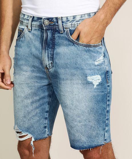 Bermuda-Jeans-Masculina-Slim-com-Bolsos-Destroyed-Azul-Medio-9963154-Azul_Medio_1