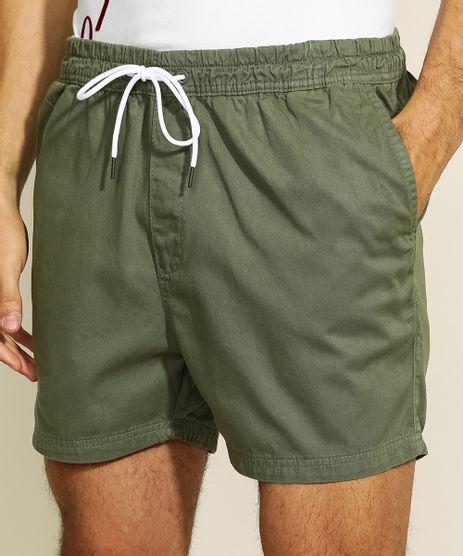 Short-de-Sarja-Masculino-com-Cordao-e-Bolsos-Verde-Militar-9960719-Verde_Militar_1