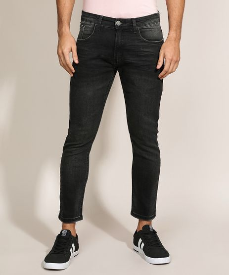 Calca-Jeans-Masculina-Slim-Cropped-Preta-9923515-Preto_1
