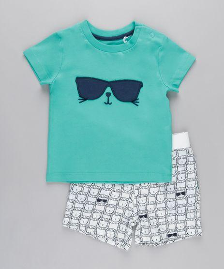 Conjunto-de-Camiseta-Interativa-com-Bordado---Bermuda-Estampada-de-Leao-em-Moletom-Verde-Agua-8670660-Verde_Agua_1