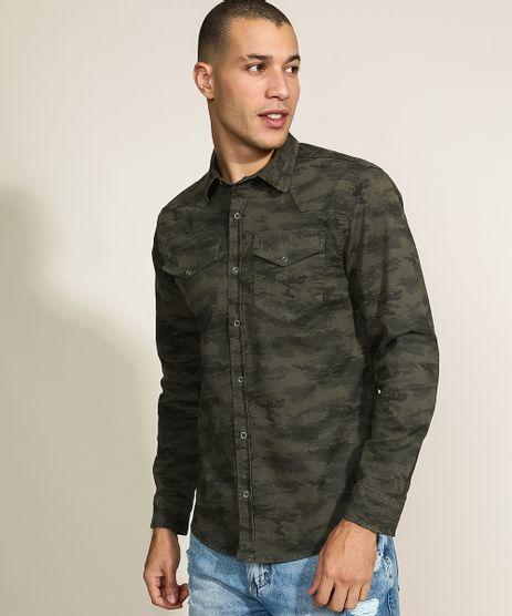 Camisa-de-Sarja-Masculina-Tradicional-Estampada-Camuflada-com-Bolsos-Manga-Longa-Verde-9961817-Verde_1