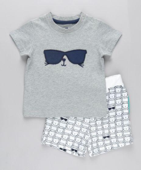 Conjunto-de-Camiseta-Interativa-com-Bordado---Bermuda-Estampada-de-Leao-em-Moletom-Cinza-Mescla-8670660-Cinza_Mescla_1