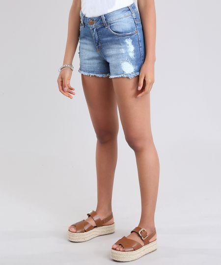 6a6e0a6d9 Menor preço em Short Jeans Reto Destroyed en Algodão + Sustentável Azul  Médio