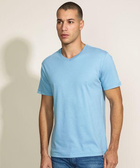 Camiseta-Masculina-Basica-Manga-Curta-Gola-V-Azul-9965027-Azul_1
