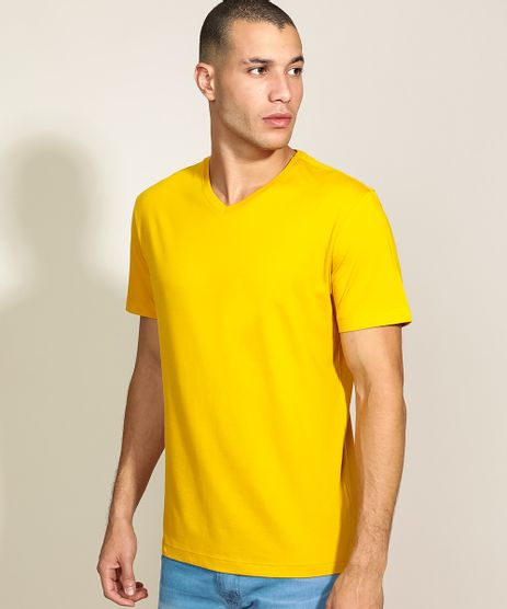 Camiseta-Masculina-Basica-Manga-Curta-Gola-V-Mostarda-9965027-Mostarda_1