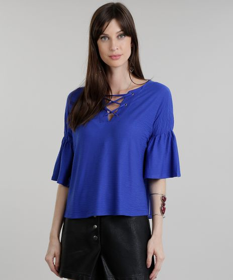 Blusa-Texturizada-com-Lace-Up-Azul-Royal-8831251-Azul_Royal_1