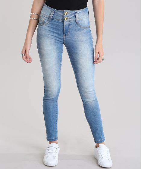 a761b319e Calça Jeans Skinny Modela Bumbum Sawary Azul Claro - cea
