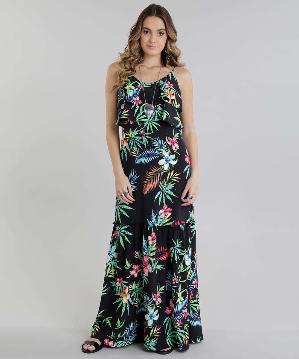 2cbd368171 ... Vestido-Longo-estampado-Floral-com-Babado-Preto-8717668-