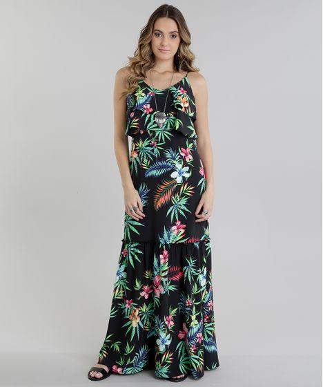 Black Friday Vestido Longo Estampado Floral Com Babado