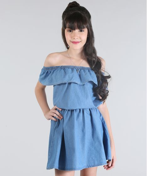 333134ec37 Vestido-Jeans-Ombro-a-Ombro-Azul-Medio-8558789- ...