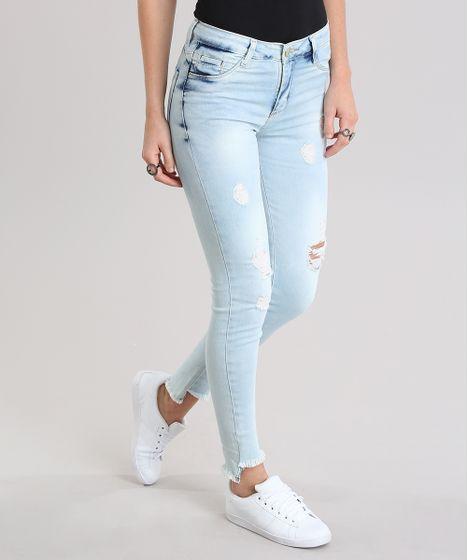 541dfecd3 Calça Jeans Super Skinny Destroyed Sawary Azul Claro - cea