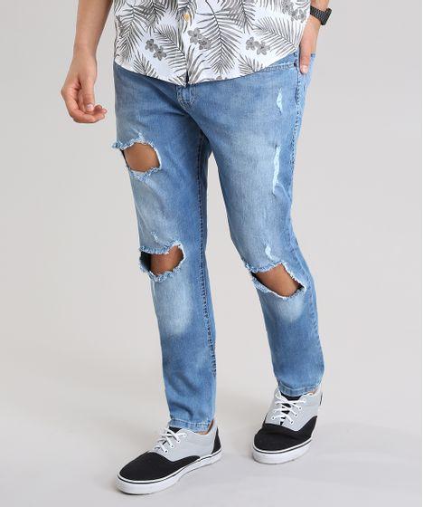 Calça Jeans Skinny Destroyed com Algodão + Sustentável Azul Médio - cea fddca7a8c24