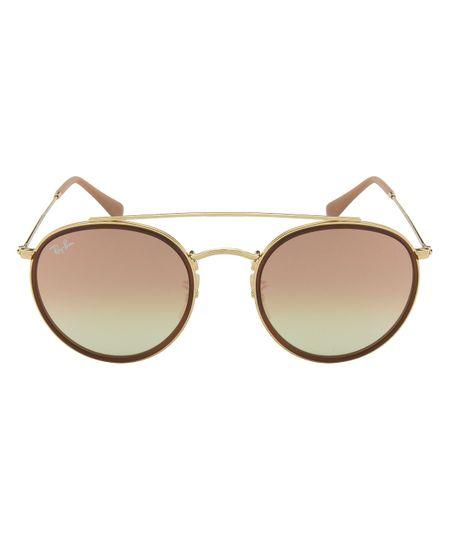 Óculos de Sol Ray-Ban Round Double Bridge RB3647N - Dourado Caramelo - 001  7O 51 8e11d28ff8819