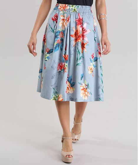 32d388dbc63 Saia-Midi-Estampada-Floral-Azul-Claro-8646720-Azul Claro 1 ...