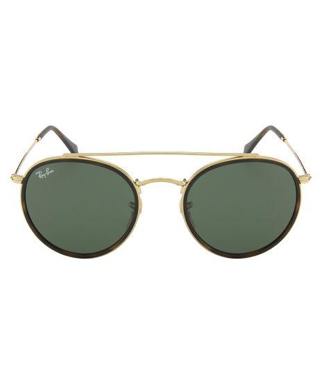 foto-1. Moda Feminina. Adicionar Óculos de Sol Ray-Ban Round Double Bridge  RB3647N - Dourado - 001 51 47110992f2dff