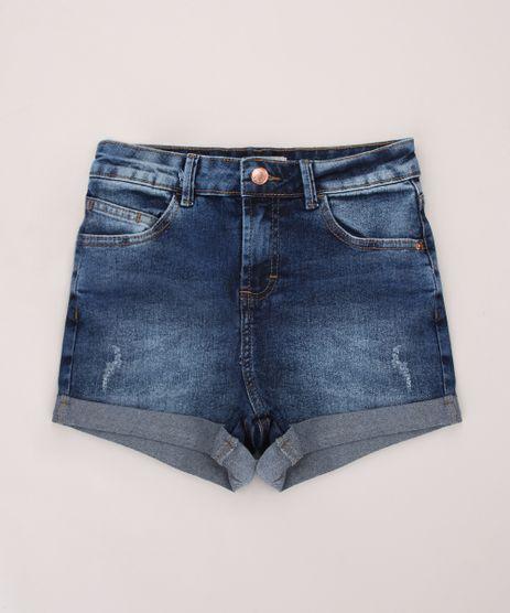 Short-Jeans-Juvenil-com-Puidos-e-Barra-Dobrada-Azul-Escuro-9967938-Azul_Escuro_1