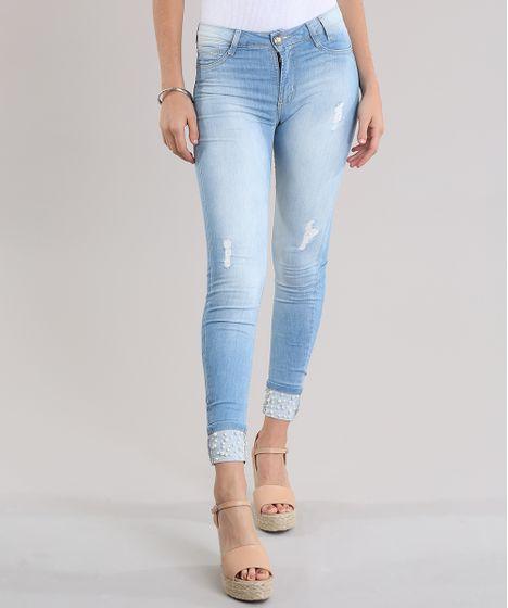 82937fbf2 Calça Jeans Super Skinny Push Up Sawary Azul Claro - cea