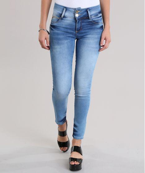 56d2e6cdf Calça Jeans Super Skinny Modela Bumbum Sawary Azul Médio - cea
