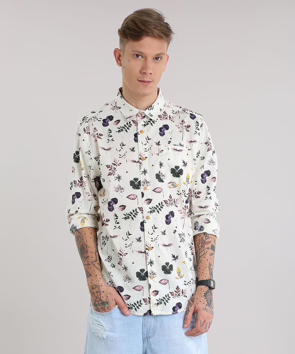 7ca2931c27 ... Camisa-Estampada-Floral-Bege-Claro-8687673-Bege Claro 1