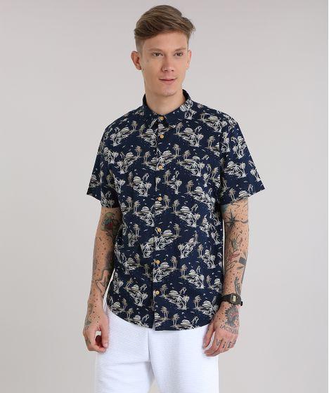 Camisa-Estampada-de-Horizonte-Azul-Marinho-8702810-Azul Marinho 1 ... 40909decfdf