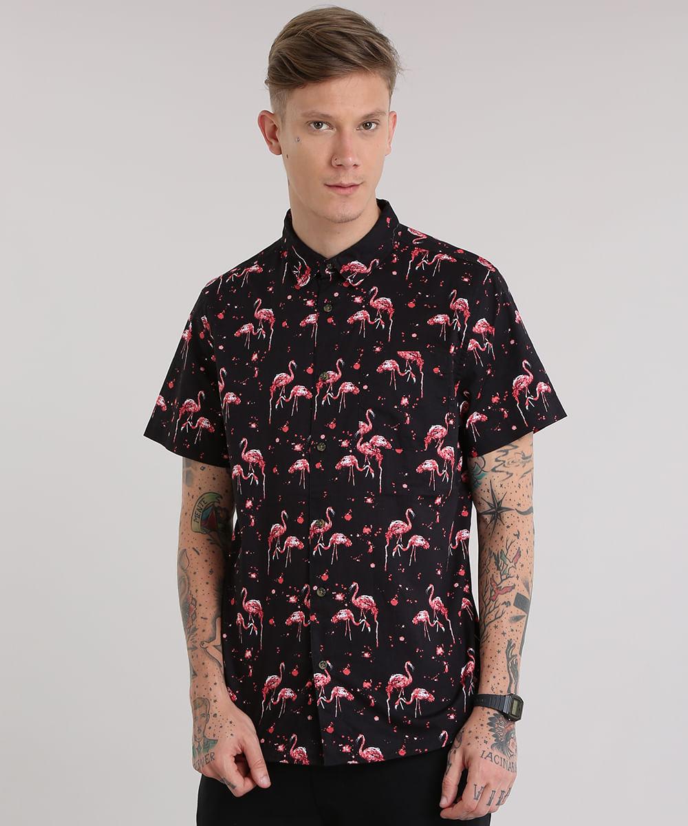 216e36cc1015c ... Camisa-Estampada-de-Flamingos-Preta-8702816-Preto 1