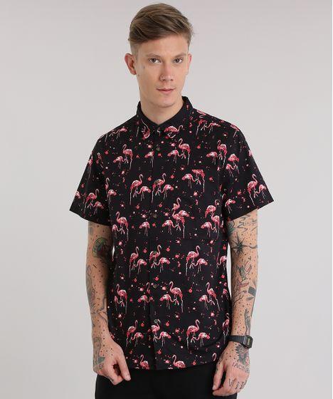 9f69ccee4ffc2 Camisa-Estampada-de-Flamingos-Preta-8702816-Preto 1 ...