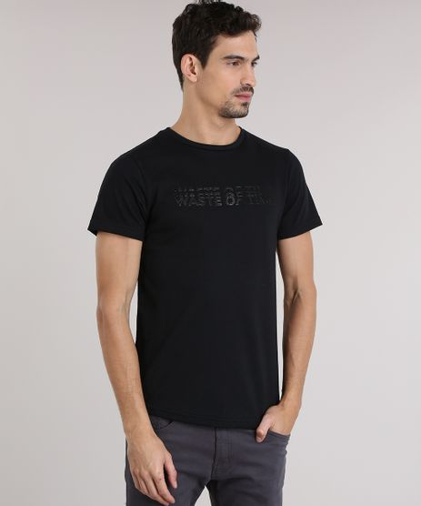 Camiseta-em-Trico-com-Estampa--Waste-Of-Time--Preto-8831035-Preto_1